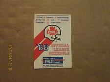 CFL Vintage Circa 1988 Official Style#2 League Logo Pocket Schedule