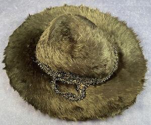Vintage 1940s Film Noir Style Black Beaver Felt Fur Wide Brim Women's Fedora Hat