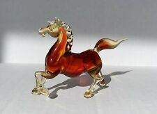 "Murano Art Glass Horse 3 1/2 "". Amber Colored"