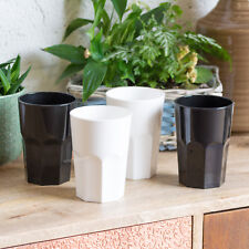 4 x 35cl White Black Reusable Plastic Drinking Glasses Hi-Ball Tumblers Bar Cup