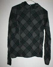 Ibex Women's Euc sz Medium Merino Wool Gray argyle hoodie 1/3 zip *Thumb holes*