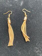 Gold Alloy Metal Tassel Dangle Earrings NWOT  D54