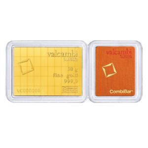 50 x 1 gram Gold Valcambi CombiBar .9999 Fine (In Assay)