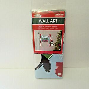 Christmas Decals SANTA STOP HERE Penguin Wall Art Removable Stickers Door Decor