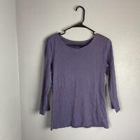 J. Jill XS Top  Pima Cotton Ballet sleeve Tee Purple Solid 3/4 Sleeve Casual