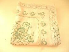 Vintage LINEN Tablecloth : Embroidered with Lace Edging : 4ft x 44""