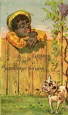 Victorian American Pitbull Terrier Grapes Trade Card African American Boy Rare