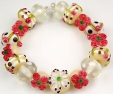 17 LAMPWORK GLASS BEADS White & Pink Flower Black Dot Loose Jewelry Rondelle