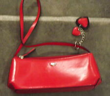 FIORELLI RED FAUX LEATHER EVENING HANDBAG WITH SINGLE STRAP & 2 HEART TAGS