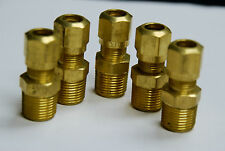 Brass Fittings DOT Air Brake Male Connector, Tube OD 3/8, Male Pipe 3/8, Qty 5