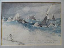 MARINE BATEAU YACHTING MER OCEAN GRAVURE DE RHYS D'APRES AQUARELLE BEL ENCADREME