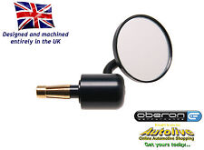 "Oberon billet 75mm 'Streetfighter' bar end mirror (Black-1"") - Autolive Online"