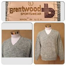 EXC COND VTG 70's BRENTWOOD SPORTSWEAR MENS LARGE HEATHER GRAY V-NECK SWEATER