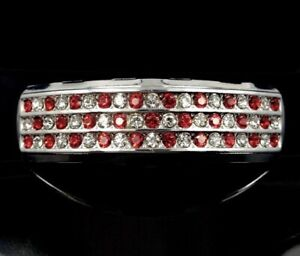 14k White Gold IP Top 6 Tooth Grillz iced Red Simulated Diamond Grill Bling out!