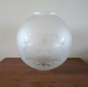 VINTAGE Large Baroque Style Acid Etched Glass Frosted Lamp Light Shade Retro