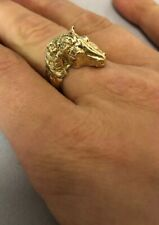 9ct Yellow Gold Horse Ring, Size M