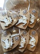 9 X Reindeer Christmas Decorations Shabby Chic Rustic Wood Heart Gold Cream Bows