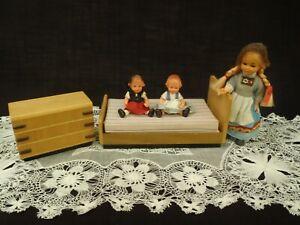 Vintage Lerro Sweden Handcrafted Wood Miniature Dollhouse Bedroom set 1960's
