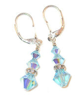 AQUAMARINE Blue Crystal Earrings Sterling Silver Dangling Swarovski Elements