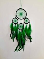 Handmade multi beads green feather lace dream catchers for wall hanging