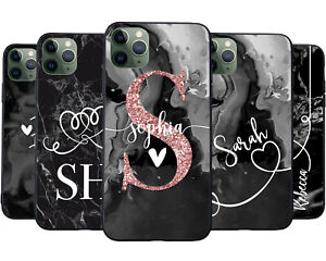 Personalised Matt Black Marble Phone Case Cover for Apple iPhone Any Name Print