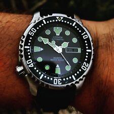 SUPER RARA Citizen Promaster automatico quadrante nero Lefty 200 M Diver 200 M WR c1996