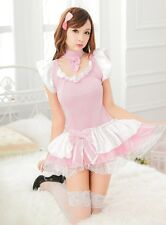 Sweety Pink Japanese Maid Costume  French Waitress Party Outfit Uniform, 8-14