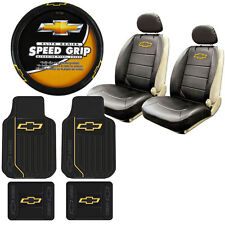 New 9Pc Chevy Bowtie Elite Rubber Floormats Seat Covers Steering Wheel Cover Set
