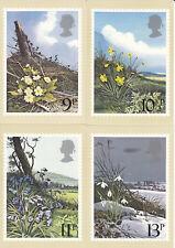 GB 1979 PHQ Cards Mint Set~British Flowers~(4)~PHQ-34~UK Seller