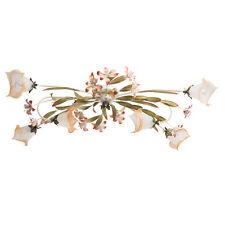 Plafonnier design style floral florentin en métal et verre avec fleurs colorés