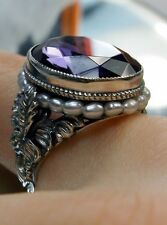 *Amethyst* & Seed Pearl Sterling Silver Floral Art Nouveau Filigree Ring Size 9