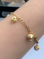 18k Solid Yellow Gold Balls Charms Diamond Cut Italy Bracelet, 6.59 Grams
