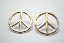 Silver Tone Hollow Cut Out Peace Sign Symbol Mark Stud Earrings Big Large