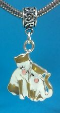 Cat Lovers Two Cats Dangle Slider Charm fits European Bracelets or Necklace