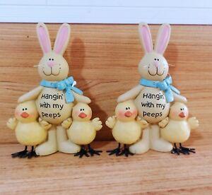 New Spring Easter Bunny Rabbit Figurine w/Chicks | Home, Mantel Decoration