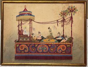 Original Antique Will Barnes LALLA ROOKH Parade Float Design & Costume PAINTING