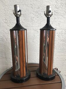VTG MCM Chrome Teak Table Lamp Pair Atomic Mid Century Mod 50's 60's