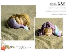 Purple hair angel Mermaid  Resin Fantasy Statue Aquariums Ornaments