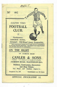 1935/36 Eastern Counties Cup 2nd Round - CLACTON TOWN v. HARWICH & PARKESTON