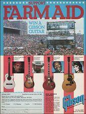 Willie Nelson B.B. King Emmylou Harris 1986 Farm Aid Gibson Guitar Contest Ad