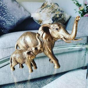 Bronzed Elephant and Calf Figurine