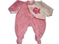 Baby Fine toller Schlafanzug / Strampler Gr. 68 rosa-weiß mit Fisch Applikation