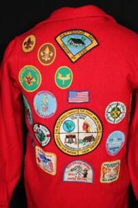 RARE VINTAGE 1970'S  RED WOOL OFFICIAL BOY SCOUT WOOL SHIRT JACKET SIZE SMALL