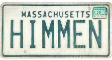 1986 Massachusetts Vanity License Plate #HIMMEN No Reserve