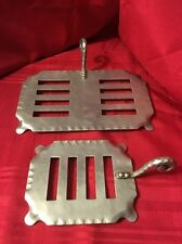 2 Hot Plates Artisan Trivets Metal Hand Crafted Design Handles Hot Plate Holder