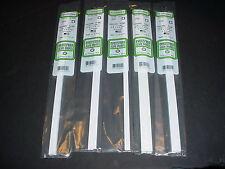 """Evergreen Styrene Square Hollow 14"""" Tube Plastic Assortment 5 packs White"""