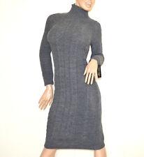 b9d3b08cf7d2 VESTITO GRIGIO abito lungo donna lana collo alto manica lunga made in italy  G68