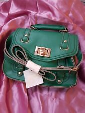 NEW LOOK Faux Leather Green 23x18x8cm Shoulder Strap Messenger Grab Handle Bag