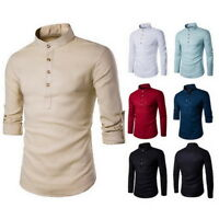 Mens Long Sleeve Linen Henley Shirts Botton Down Casual Shirts Slim Fit Tops