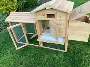 "59"" Wooden Chicken Coop Rabbit Hutch Hen House w/Nest Box Outdoor Pet Cage"